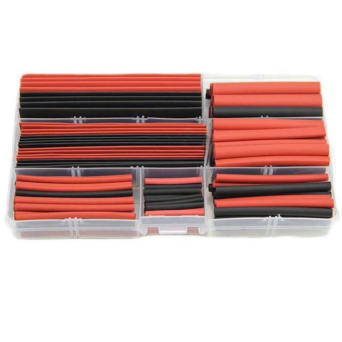 New 150 PCS 8 tailles 2 couleur chaleur gaine thermorétractable Tube Kit Transparent boîte en plastique, Gaines # CGKCH008(China (Mainland))