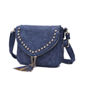 Stylish Rivets Cute Tassels Ladies Saddle Bag Nubuck Leather Fashion Small Crossbody Bag Retro Women Designer