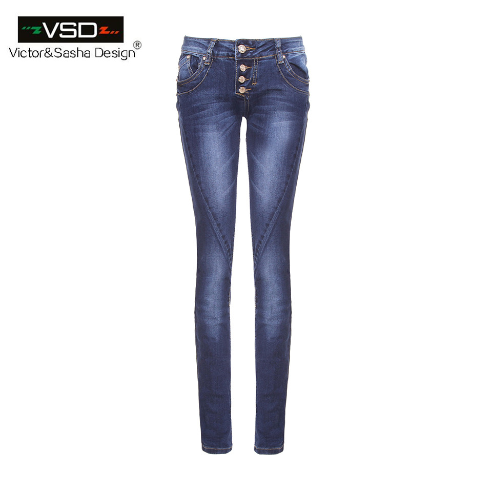 2016 AutumnTop New Hot Sale STRETCH JEANS Pencil Ripped Skinny Jeans Woman Fashion Slim Blue Low Waist Women's Slim Denim Pants(China (Mainland))