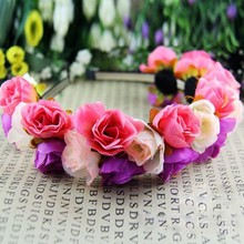 Rose Flower Crown Headbands for Women Wedding Festival Double Row Floral Garland Hairbands