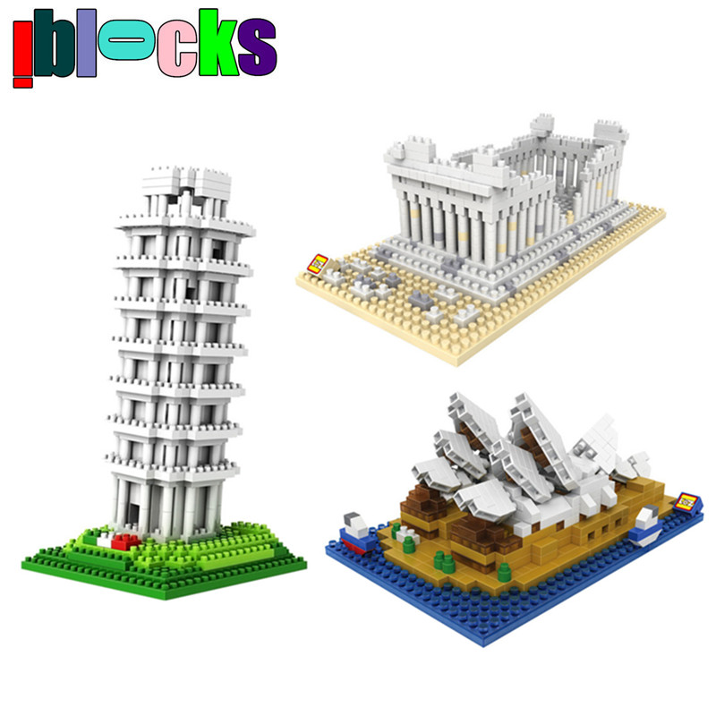 World Architecture Series Leaning Tower Greece Temple Mini Models & Building Toys DIY Assemblage Hobby Diamonds Nano Blocks  -  iblocks store