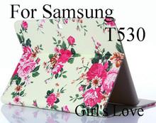 Новая горячая распродажа мода цветы флип стенд кожаный смарт — чехол обложка стенд чехол с слот для карт памяти для Samsung Galaxy Tab 4 10.1 T530