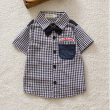 Newest Boys Button down Plaid Short Sleeve Shirts Tie Lapel Blouse Tops Age 0 3Y Free
