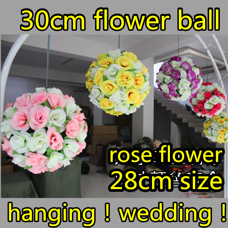 30cm Artificial Flowers Wedding Supplies Ball Silk Rose Kissing Hangging Decorative Bouquets Party Mall Decoration - Greenstyles store