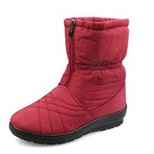 Más el Tamaño 36-42 Cubo Flexible Impermeable Botas de Mujer de Mediana edad alta Calidad Cozy Warm Fur Dentro de la Nieve Botas Zapatos de Invierno mujer(China (Mainland))