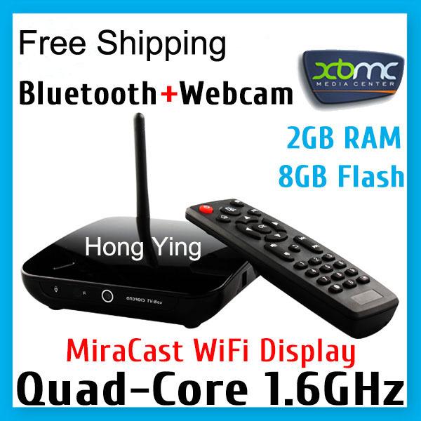 Android RK3188 Quad Core 2GB RAM 8GB Flash Smart TV Stick XBMC Mini PC with Camera Webcam Mic Microphone Bluetooth Free Shipping(China (Mainland))