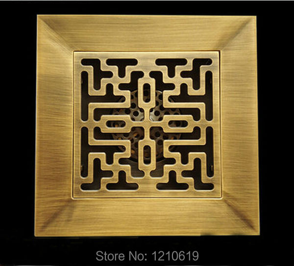 Newly US Free Shipping Retro Style Antique Brass 4-inch Bathroom Square Floor Drain Shower Strainer Solid Brass<br><br>Aliexpress