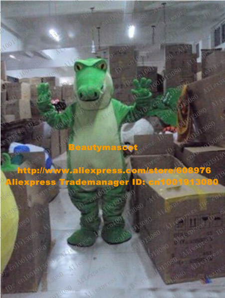 New Green Crocodile Mascot Costume Mascotte Cayman Crocodilian Crocilisk Alligator With Big Mouth Sharp Teeth No.2055 Free Ship(China (Mainland))