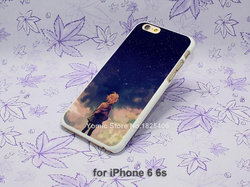 starry space illust anime girl Design hard White Skin Case Cover for iPhone 4 4s 4g 5 5s 5c 6 6s 6 Plus