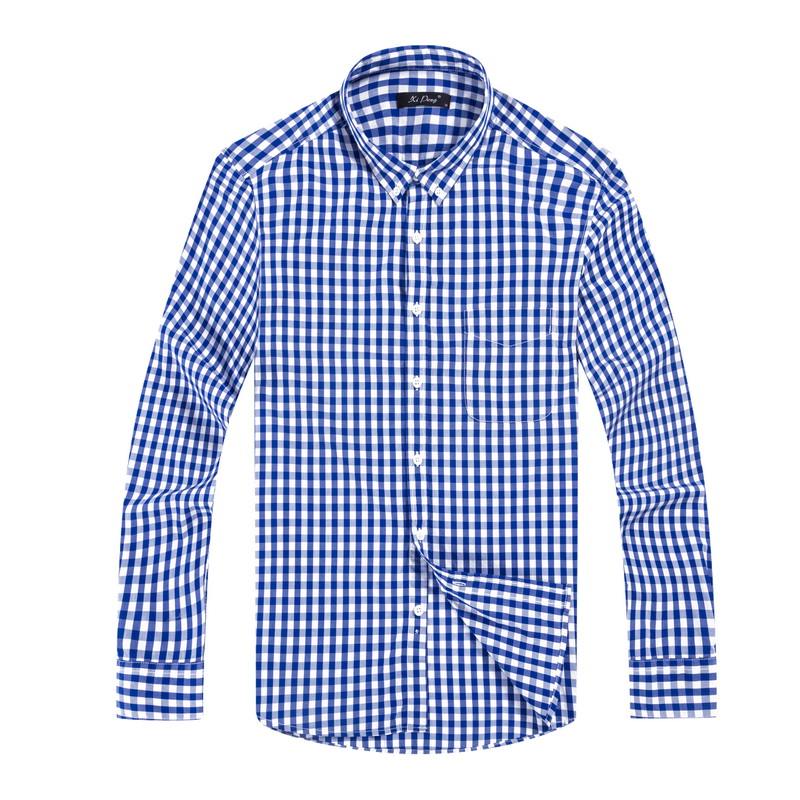 Luopei 2016 New Fashion Mens Chemise Homme Cotton Shirts Slim Fit Casual Long Sleeve Turn Down Collar Plaid Dress Shirt(China (Mainland))