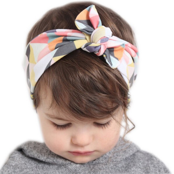 2016 Lovely Baby Headband Fashion Bunny Ear Girl Headwear Bow Elastic Knot Headbands DIY Bowknot Headwear Hair Accessories