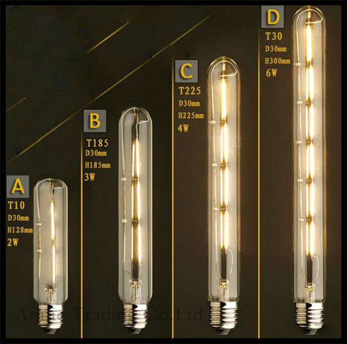 220-240V 2W/3W/4W/6W LED Edison Bulb E27 T10 T185 T225 T30 vintage retro lada bulbs LED filament lamparas for decor lamps lights(China (Mainland))