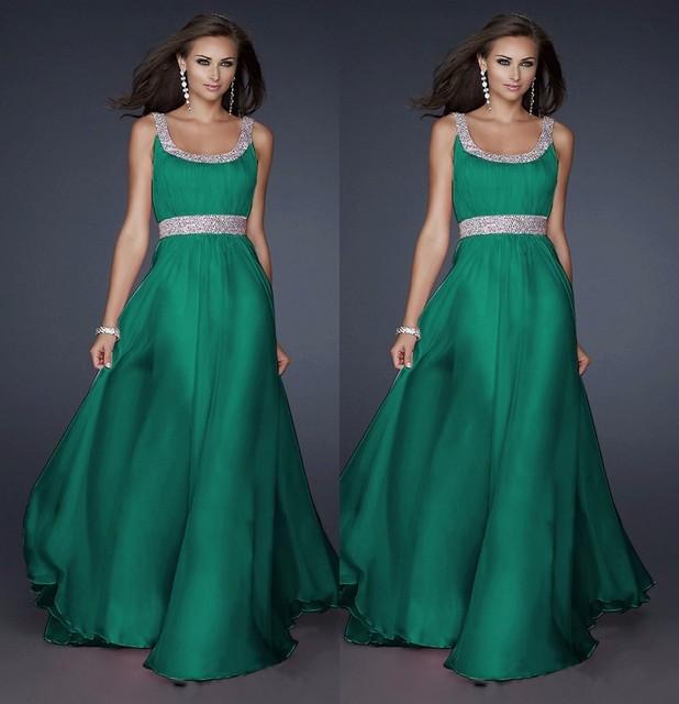 2016 новинка о-образным шеи бисером длинные шифон зеленый вечернее платье элегантный ...