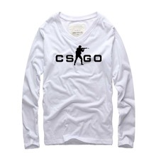 Buy 2016 CS GO Men T Shirt Long Sleeve v Neck Hot Top CSGO Game Casual Cotton tshirt Man Tee Printed Brand t-shirt Plus size for $12.47 in AliExpress store