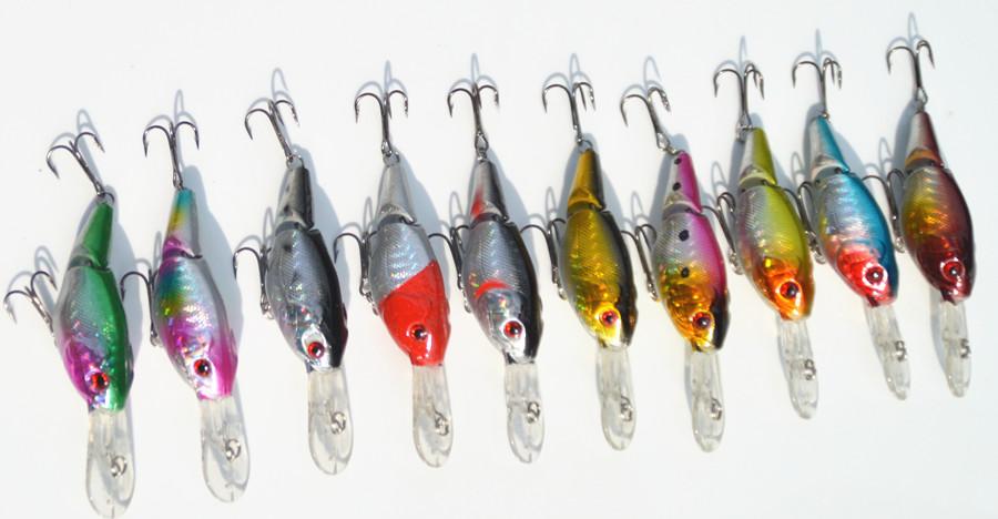 10pcs/lot Fishing Lures Hard Bait 9cm/10.5g Isca Artificial Bait 2 Segment Minnow Crank Bait Crankbait Swimbait Fishing Tackle(China (Mainland))