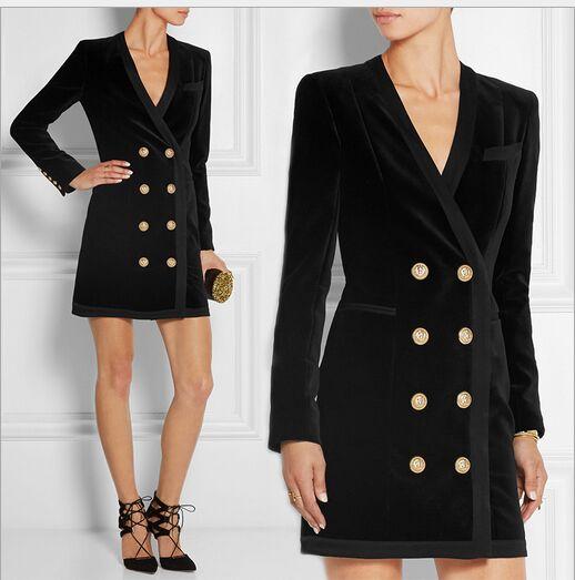 Здесь можно купить  New arrival 2016 Spring brand women sexy club sheath dress double breasted gold buttons v-neck long sleeve velour dresses  Одежда и аксессуары