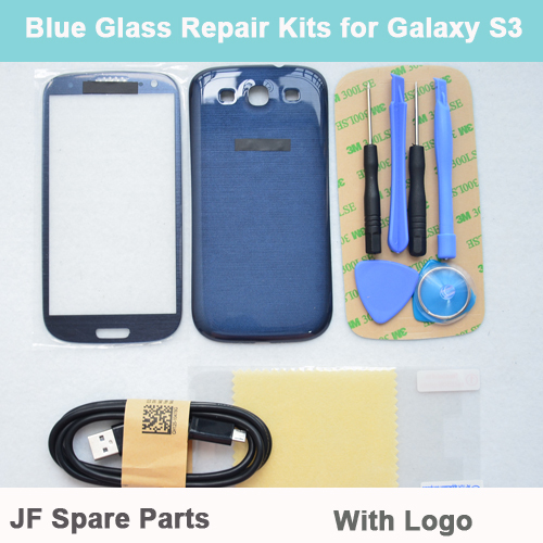 Pebble Blue Replacement Front Screen Glass Lens Kit For Samsung Galaxy S3 i9300 I747+Tools+Back Cover+USB cable+Film+Sticker(China (Mainland))