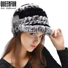 Genuine Rex Rabbit Fur Hat Thick Wool Knitted Rabbit Fur Cap Winter Warm Women Rabbit Fur Hat New 2015 Hot Sale(China (Mainland))