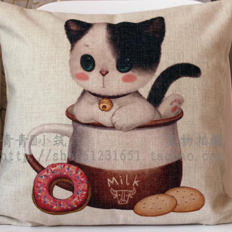 High Quality Cotton Linen Cushion Covers Cup Adorable Cat Series Decorative Cushion Case Car Sofa Home