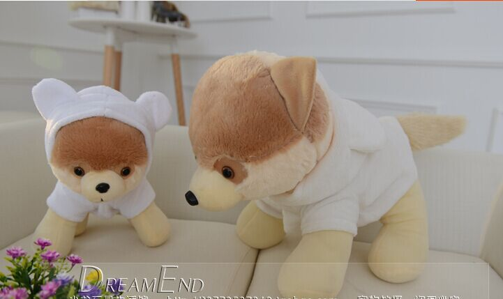 small cute plush Pomeranian toy white clothes Pomeranian dog doll gift about 30cm(China (Mainland))
