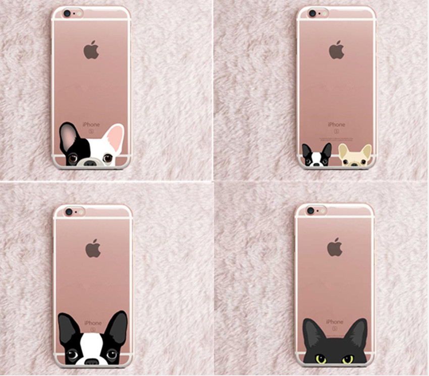 Soft TPU Cute Animal Dog Cat boston terrier bulldog clear pug silicon Phone Cases For iPhone 5 5S 6 6S 7 7 Plus SE Coque Capa(China (Mainland))