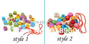 Animal Fruit/ Fruit Numbers Bead Wooden Toy String of Beads 26 Grain Wear Beads Game Toy For Children 0.3KG/TTS