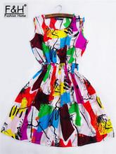 F&H Brand Fashion 20 Color Women New Desigual Sleeveless Round Neck Print Pleated Dress 2015 Saias Femininas Summer Clothing(China (Mainland))