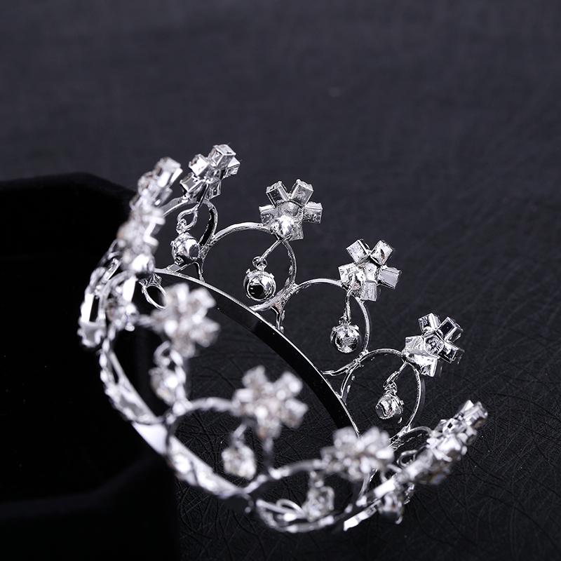 Bridal Hair Accessories Wedding engagement Silver plated Bridal pearl & rhinestone mini round full circle tiara crown R0002
