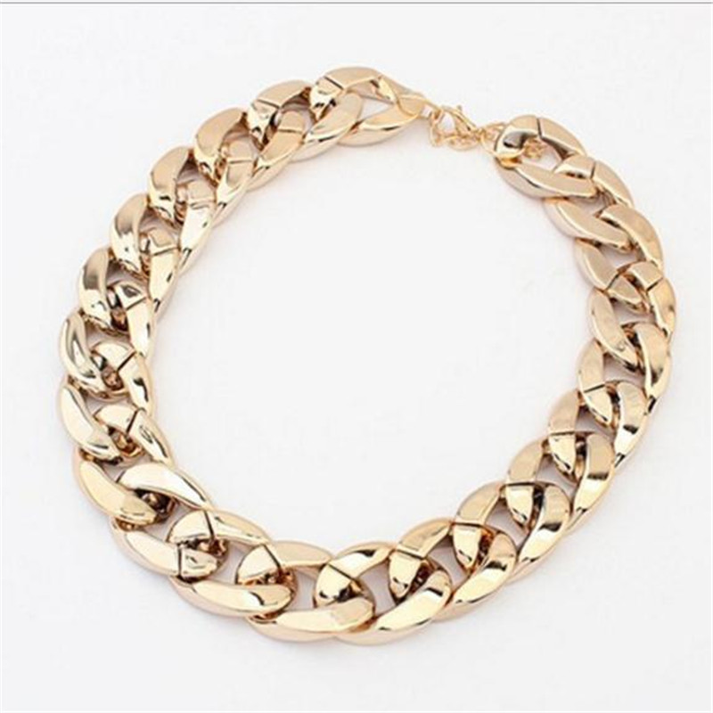 Vintage Silver/Gold/ Rose gold Chunky Chain Necklace For Women Long Chian CCB Plastic Collar Necklace New Fashion Jewelry(China (Mainland))