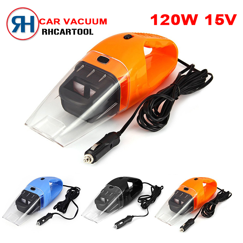 Best Portable Car Vacuum Cleaner 120W 5M 12V Handheld Mini Super Suction Wet And Dry Dual Use Vaccum Cleaner For Car 3 Colors(China (Mainland))