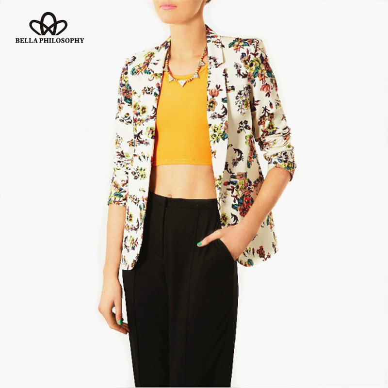 2015 autumn winter vintage floral print blazer jacket coat twosies work wearОдежда и ак�е��уары<br><br><br>Aliexpress