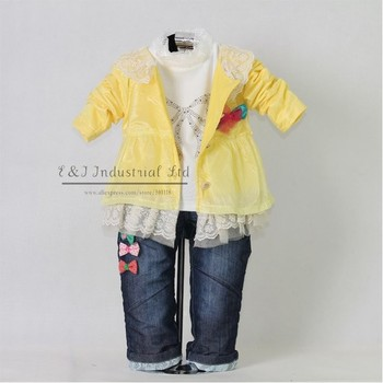 2015 New Autumn Fashion Kids Clothing Set 3PCS: Hot Yellow Dot Girl Jacket And T Shirt And Jeans Pants With Bow Baby Garment
