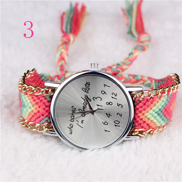 Handmade Braided Friendship Bracelet Who cares I'm already late & numbers cleanly styled dial of a classic women quartz watch(China (Mainland))