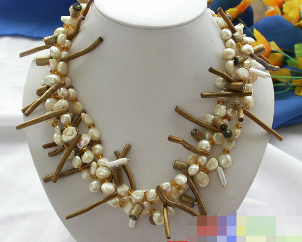 3202 3row canary BAROQUE FW PEARL golden coral NECKLACE(China (Mainland))