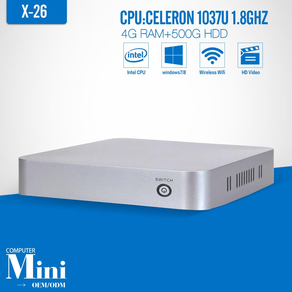 XCY X26 4G RAM 500G HDD WIFI Mini PC desktop computer thin client win7/8/10 laptop computer thin clients mini pc with 1 lan rj45(China (Mainland))