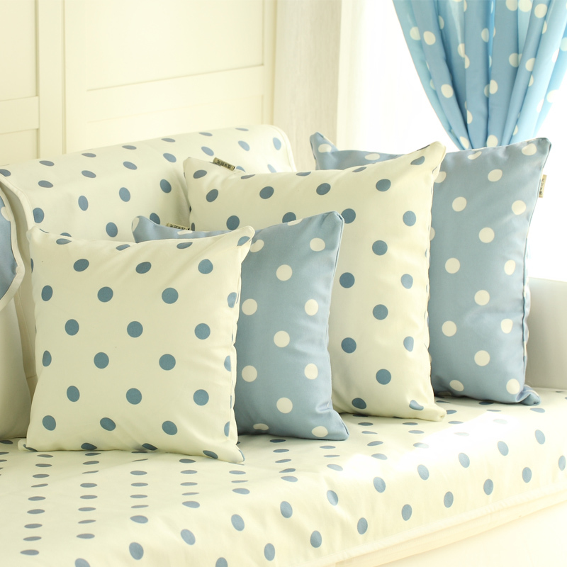 Cute Body Pillow Cases : Blue with White Polk Dots Pillowcase Korean Throw Pillow Covers Cute Pillow Protector Pillowcase ...