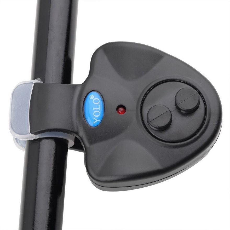 Black Universal Fishing Alarm Electronic Fish Bite Alarm Finder Sound Alert LED Light Clip On Fishing Rod(China (Mainland))