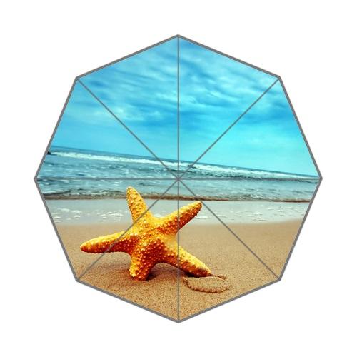 Stylish Design Beautiful Sea Star Sun Umbrella Print Starfish On Beach Rain Umbrellas For Women's Mini Parasols(China (Mainland))