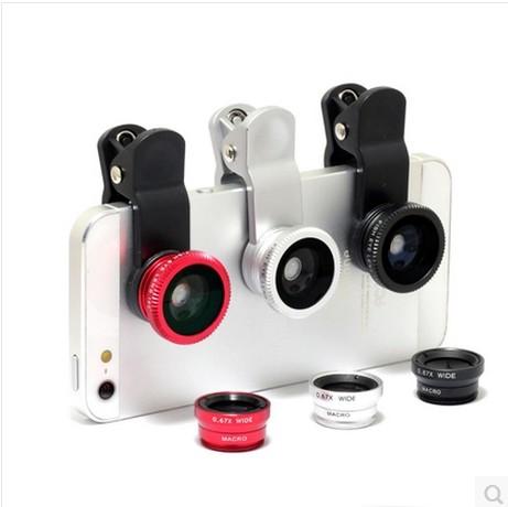 Fish eye lens 3 in 1 universal mobile phone camera wide+macro+fisheye lens for iphone samsung universal cell phone lenovo LG HTC(China (Mainland))
