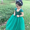 Dark Green Dress For Little Girls Sleeveless Ballgown Girl Costumes Party Dress