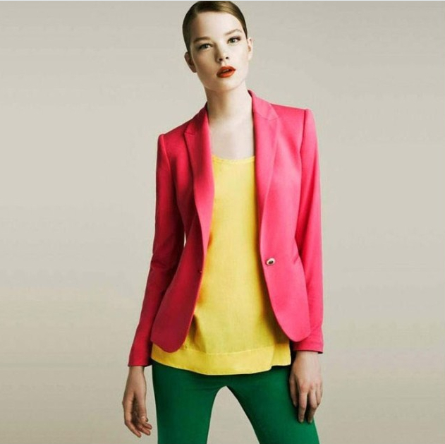 Colorful Blazer For Women Jacket Fashion Style Six Color And Five Size Women Blazer Coat ...
