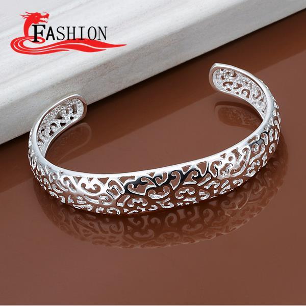 Luxury indian silver jewelry cuff bracelet 925 sterling silver Hollow pattern fashion bangles 2015 joyeria marcas famosas Design(China (Mainland))