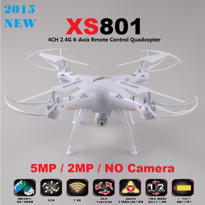 2015 New XS801C Quadcopter 6 Axis Gyro Headless Mode RC Drone With 5MP or 2MP HD Camera or Without Camera Helicopter VS SYMA X5C