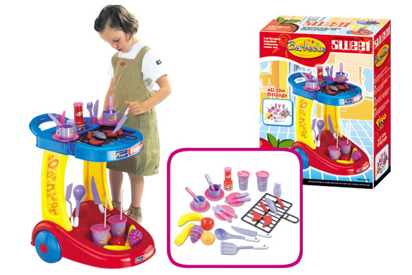 New arrival children kitchen toys set children play house barbecue grill kit with SOUND/LIGHT for 1-3 years old girl toy(China (Mainland))