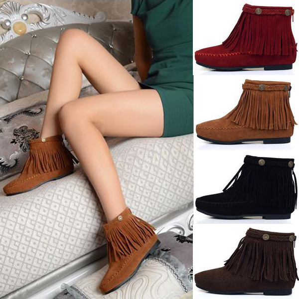Free Shipping Hot New Autumn Winter Boots Martin Boots Suede Leather Oxford Tassel Flat Women Boots Ankle Boots Shoes P107(China (Mainland))