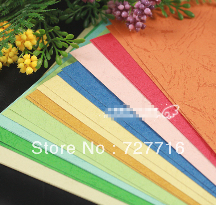 Free shipping A4 Embossed Background paper leather paper cardboard / DIY Card Scrapbook 20pcs/LOT10color(China (Mainland))
