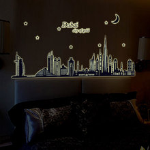 Buy Dubai City Fluorescence Wall Stickers Noctilucent Glow Dark Luminous Night Vinyl Removable Mural Home Decor DIY Decal for $6.18 in AliExpress store