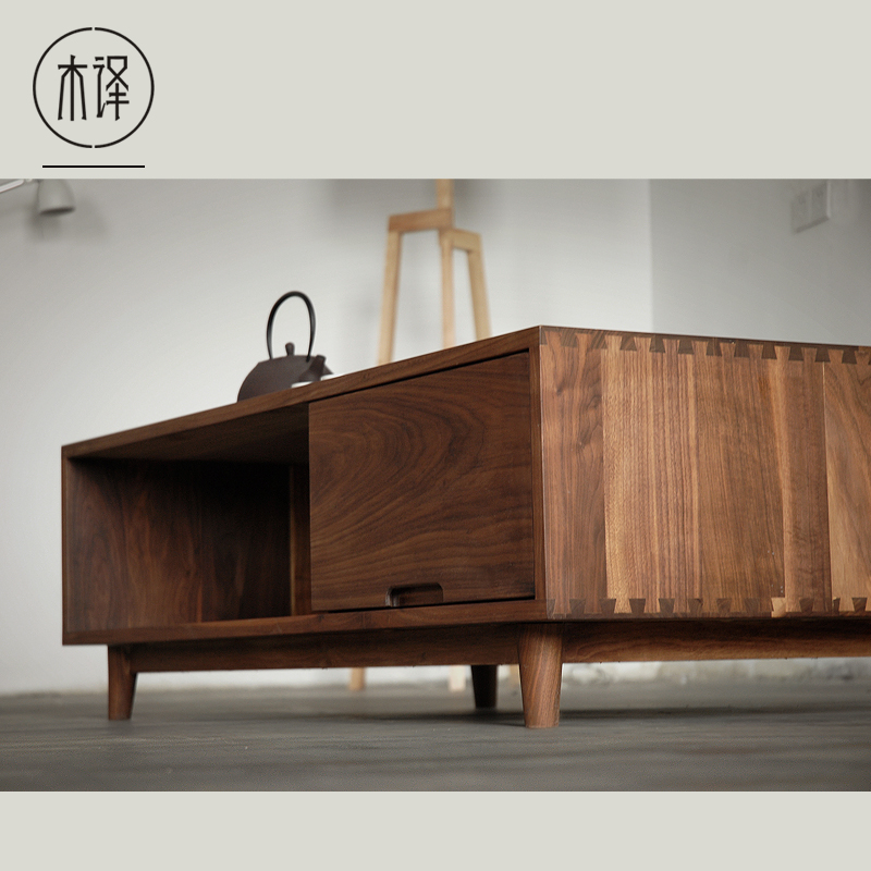 Translation wood black walnut wood furniture oak wood coffee table minimalist nordic chinese Black wooden coffee tables