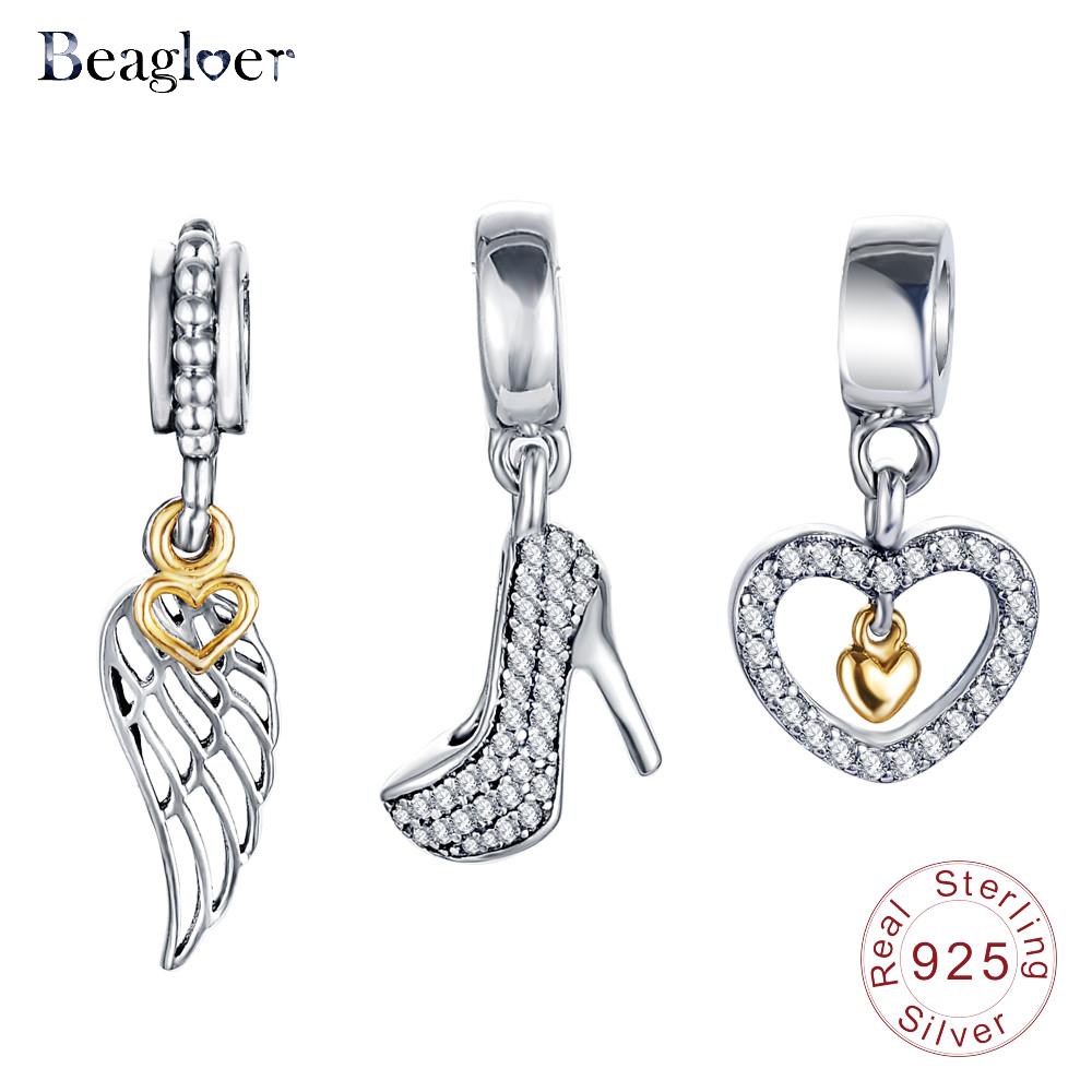 Beagloer 100% Authentic 925 Sterling Silver Shape Charm Beads Fit Pandora Bracelet Pendants DIY Original Jewelry PSMB0291(China (Mainland))