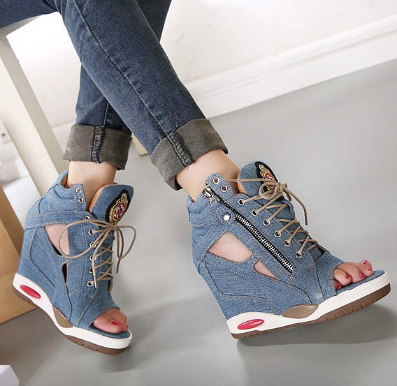 wedge sneaker trend 2014 fashion 2014 autumn denim open